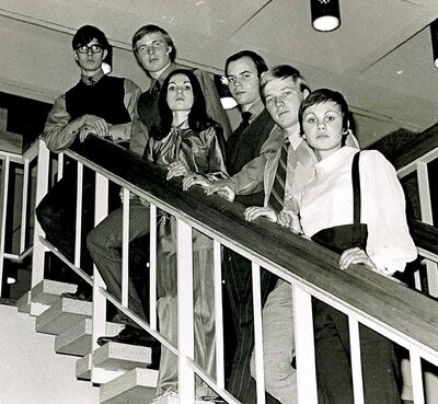 ManMaid played community centres and high school dances around southern Manitoba. Pictured (from right) are Julie Opocensky (now Masi), Gilles Carriere, Rick Gallant, Janet Opocensky, Ken Schultz and Bob Gallant.