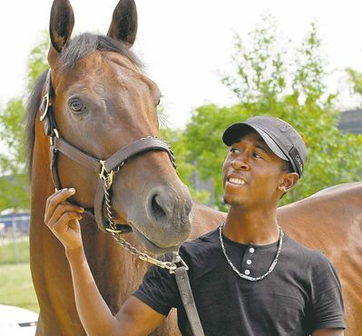 KEN GIGLIOTTI  / WINNIPEG FREE PRESSJockey Tyrone Nelson with Harry Jeffrey Stakes winner Pleasant Closing. The stallion will be one of the local favourites at the Manitoba Derby next month.
