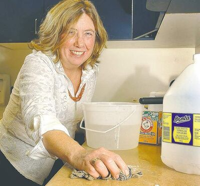 Ann Rowan, director of the Sustainability Program, David Suzuki Foundation, shows how household items like white vinegar and baking soda can be used instead of expensive and ecologically questionable commercial products.