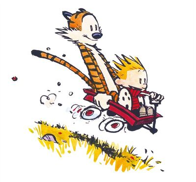 "Calvin and Hobbes are pictured in a handout photo. Artwork from ""Calvin and Hobbes"" creator Bill Watterson's three-day return to comics will be auctioned to benefit Parkinson's disease research. THE CANADIAN PRESS/ HO, Andrews McMeel Publishing - Bill Watterson"