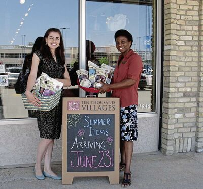 June 24, 2015 - Daria Zozulia (left) and Esther Tchando of 10,000 Villages on Henderson Highway have plenty of Fair Trade coffee, tea and other unique products available. (SHELDON BIRNIE/CANSTAR COMMUNITY NEWS/THE HERALD)