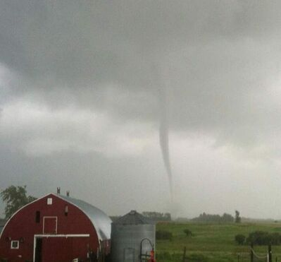A funnel cloud was spotted near a farm between Deloraine and Boissevain Sunday evening.
