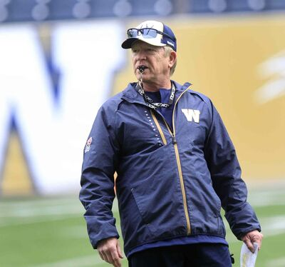 Winnipeg Blue Bombers head coach Tim Burke at the team's practice at Investors Group Field Friday.