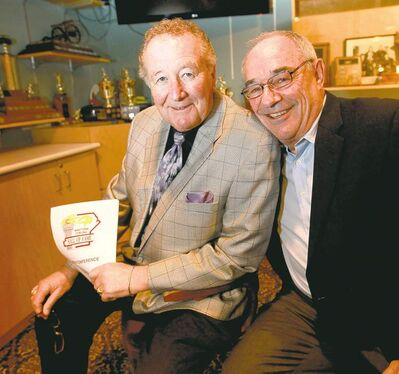 Ruth Bonneville /  Winnipeg Free Press Roaring Game legends Ray Turnbull (left) and Terry Braunstein are among the new inductees into the Manitoba Curling Hall of Fame.