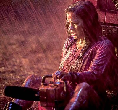 Jane Levy plays a junkie whose drug intervention in a remote cabin doesn�t go quite as planned, in �Evil Dead.� Illustrates FILM-EVIL (category e), by Michael O'Sullivan (c) 2013, The Washington Post. Moved Thursday, April 4, 2013. (MUST CREDIT: Kirsty Griffin)