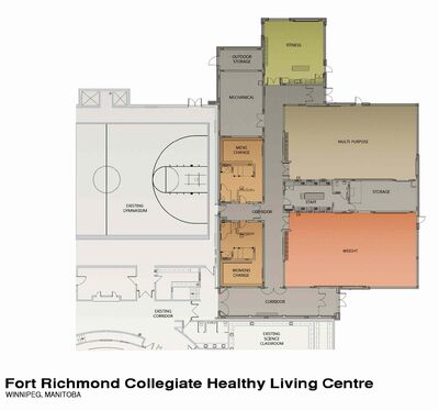 The blueprints for Fort Richmond Collegiate's new Healthy Living Centre expansion show all the different areas where students will benefit.