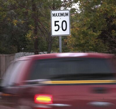 The Highway Traffic Act sets the default speed limit on Winnipeg's residential streets at 50 km/h but the city gained the authority to set its own speed limits in 2019. (Phil Hossack / Free Press files)</p></p>