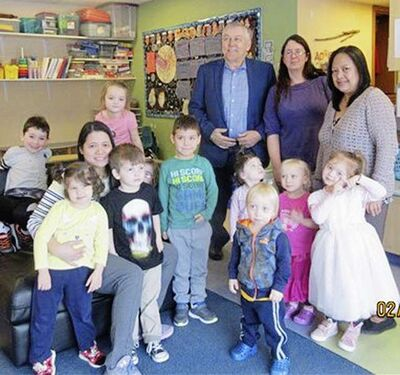 Elmwood MLA Jim Maloway with students and staff at Can You Imagine Preschool (from left): Marie Baltazar, Jennifer Andreas, and Marivic DeGuzman.