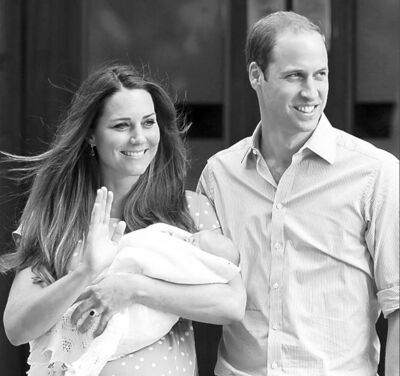 Britain's Prince William and Kate, Duchess of Cambridge hold the Prince of Cambridge