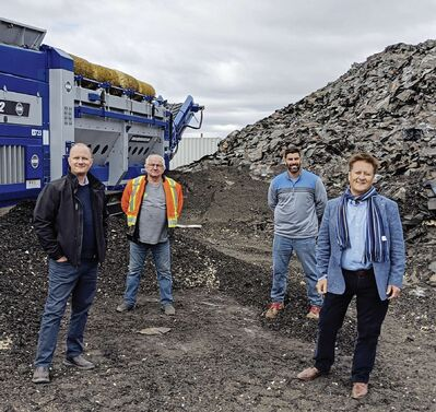 (From left) Rossmere MLA Andrew Micklefield, Greensite Recycling's John Krueger and Jeremy Kosman are pictured with Manitoba Infrastructure Minister Ron Schuler.