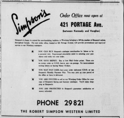 Winnipeg Free Press Files</p><p>The Simpson's mail-order office that opened on Portage Avenue in 1948 was the first location of what would become Sears Canada in Winnipeg.</p>