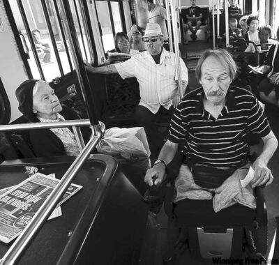Ternette doesn't usually bother with Handi-Transit. He gets around on Transit's new low-floor buses.