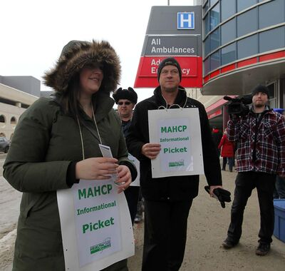 BORIS MINKEVICH / WINNIPEG FREE PRESS FILES</p><p>Members of the Manitoba Association of Health Care Professionals picket outside Health Sciences Centre in January.</p>