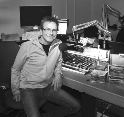 Mark Szyszlo at the controls of CBC in Thompson.
