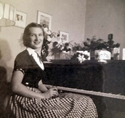 SUPPLIED</p><p>Laurane in Winnipeg in 1956. She didn't like pictures of herself playing piano, just sitting at it.</p>