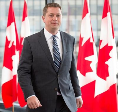 Conservative leader Andrew Scheer leaves a morning announcement in Ottawa Monday, October 7, 2019. THE CANADIAN PRESS/Jonathan Hayward