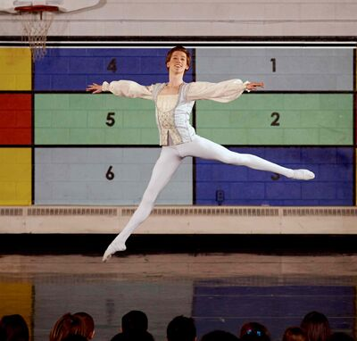 RWB School Professional Division student Connor Coughlin is pictured performing the men's solo in the pas de trois from the famed classic ballet, Swan Lake. He was performing at Robertson School in Winnipeg on Nov. 21. Coughlin was awarded the Prince Edward Award.