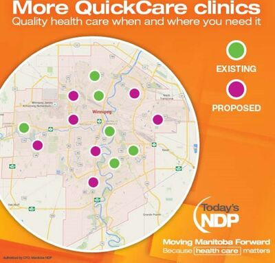 This map, provided by the NDP, shows the proposed new clinic locations. </p>
