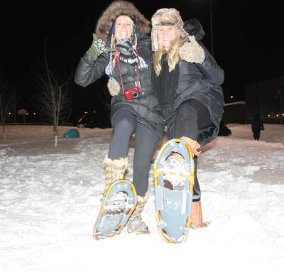 Leah McDonald and Alex Wenger had the chance to snowshoe courtesy of Mountain Equipment Co-op duing Bell Let's Talk Day celebrations at Clara Hughes Recreation Park on Jan. 28.