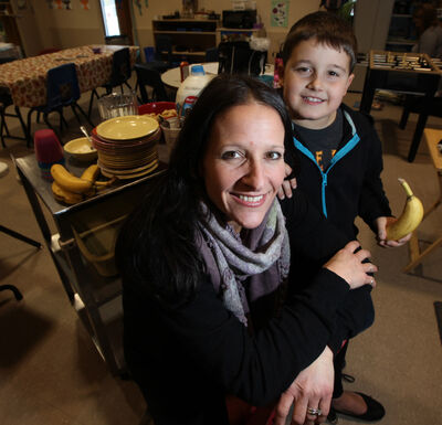 Robyn Avery, executive director of Aleph-Bet Child Life Enrichment Program, and her seven-year-old son Nathan.