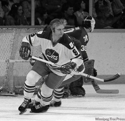 Bobby Hull skates away from the Quebec Nordiques' net in a game March 3, 1976.