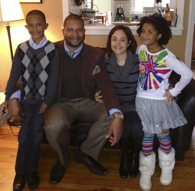 American jazz saxophonist Jimmy Greene and his wife, therapist Nelba Marquez-Greene, with son Isaiah and daughter Ana, age 6.  Isaiah attended Grade 3 at the same school but was not hurt.