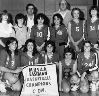 The 1983 Ross L. Gray Raiders, pictured here with their legendary coach Terry Gotziaman (back right), shortly before they went on to claim their third straight provincial high school basketball title.