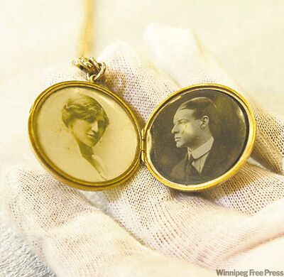 The locket inherited by Winnipegger Leslie Radcliffe, showing Charles Sedgwick (right) and his new bride, Adelaide.