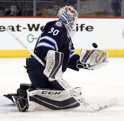 PHIL HOSSACK / WINNIPEG FREE PRESS FILES</p><p>Manitoba Moose netminder Jamie Phillips.</p>