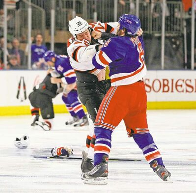 jim mcisaac / newsday / mct archivesThere is a fair-to-middling chance we will see the odd episode of fisticuffs in the Rangers/Devils series.