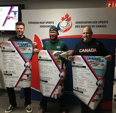 Several athletes were honoured by the Canadian Deaf Sports Association at the Cargill Curling Training Centre in Morris last weekend, including Ile des Chenes native Tyler Plett (in centre).