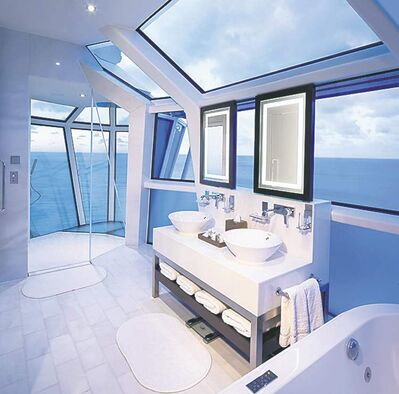 Reflection Suite bathroom on Celebrity�s new Reflection ship. The all-glass shower extends over the edge of the ship with a wrap-around verandah and special glass so you can see out, but not in. It�s one of a number of new features and attractions on ships as the 2013 cruise season gets underway.