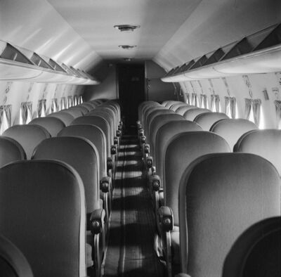 The cabin of a DC-4: 'All of the children cried at some point during the flight and most threw up,' Gray recalls. (Supplied)</p>
