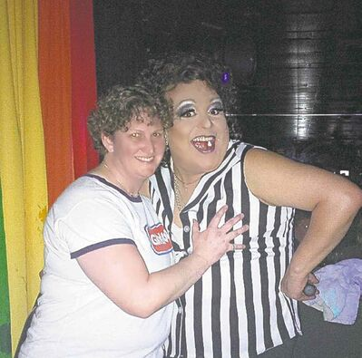 Lesbian Lube Wrestling  founder and organizer Barb Burkowski (left) and referee Anita Stallion.