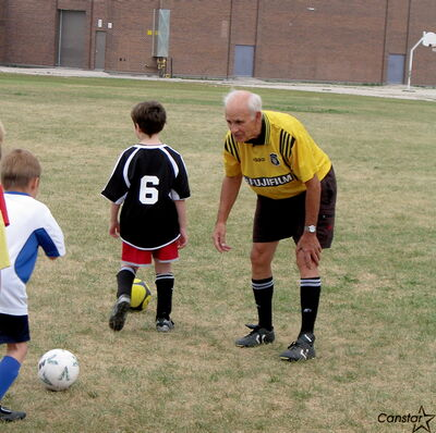 Fred Van Dongen, still spry at 75, was working with a group of young soccer players Sunday evening in St. Vital. Over the past 50 years, Van Dongen has worked with thousands of players from a wide variety of ages and skill levels.