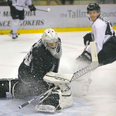Nikolaj Ehlers speeds in on goaltender Eric Comrie during a scrimmage at the Winnipeg Jets rookie camp Thursday at the MTS Iceplex.