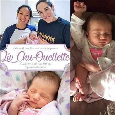 Julie Chu (left) and Caroline Ouellette (centre), former captains of the Canadian and U.S. women's hockey teams, have had a baby, shown in a post from Ouellette's Instagram feed. The couple announced the birth of their daughter on social media Monday.THE CANADIAN PRESS/HO-Instagram-caroouellette13 MANDATORY CREDIT