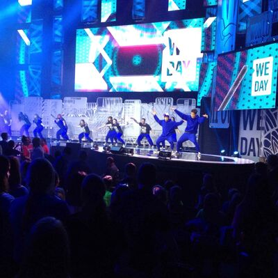 Graffiti perform the We Da Dance for about 16,000 Manitoba students attending the We Day Event in the MTS Centre Wednesday.