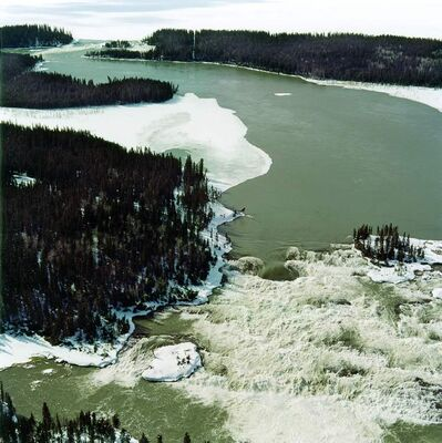 Manitoba Hydro photo from around 2004 shows site before Wuskwatim Generating Station was built.