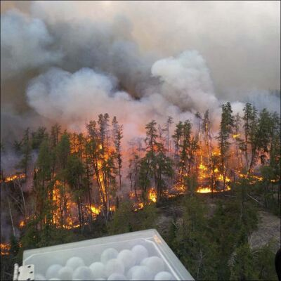 The wildfire near the popular Caddy Lake resort area has hit the point where South Cross and North Cross lakes connect by a train tunnel.</p>
