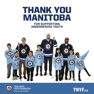 A billboard thanking Manitobans for their support of the True North Youth Foundation. (Supplied)</p>