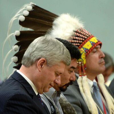 From left: Prime Minister Stephen Harper, Inuit Leader Terry Audla, President of Inuit Tapiriit Kanatami and AFN Chief Perry Bellegarde listen during the closing ceremony of the Indian Residential Schools Truth and Reconciliation Commission, at Rideau Hall in Ottawa on Wednesday.