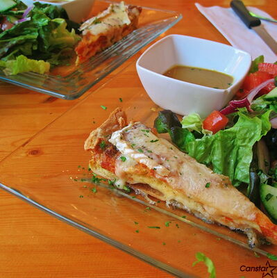 Quiche and salad make for a great lunch at Chez Sophie in Old St. Boniface.