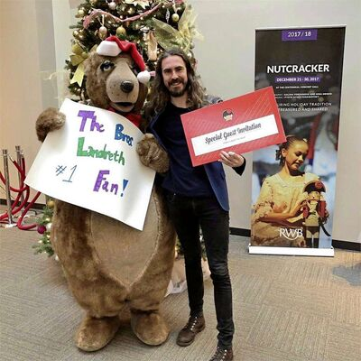 David Landreth (right) with Filbert, the Royal Winnipeg Ballet's mascot. Landreth, co-founder of the Juno award-winning Bros. Landreth, is scheduled for a walk-on role in RWB's Nutcracker on Sat., Dec. 30 at 1 p.m.