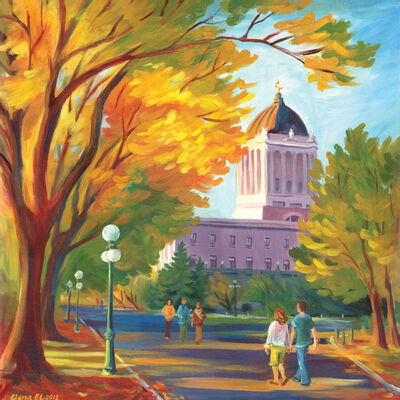 One of Elena El's Winnipeg scenes, Golden Glow, which will be shown at the Cre8ery during her show Hey Winnipeg!