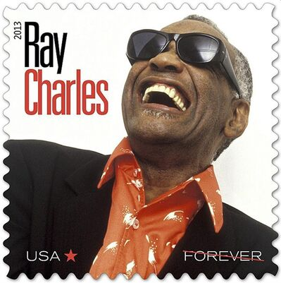 In this undated photo provided by the The U.S. Postal Service, a new Postal Service stamp honoring musician Ray Charles is shown. The stamp is part of the Music Icons series of stamps. The stamp is to be unveiled in Atlanta. (AP Photo/The U.S. Postal Service)