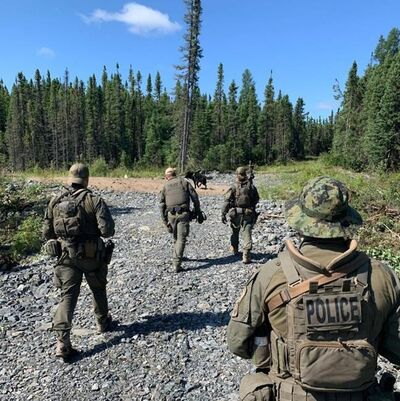 RCMP search an area near Gillam, Man. in this photo posted to their Twitter page on Tuesday, July 30, 2019. The deputy mayor of a northern Manitoba community at the centre of a massive manhunt says it will be a long time before things return to normal.THE CANADIAN PRESS/HO, Twitter, Manitoba RCMP, @rcmpmb *MANDATORY CREDIT*