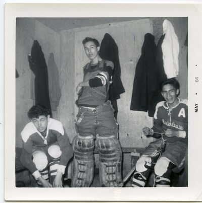 SUPPLIED</p><p>George Kakeway (left) and teammates in the Assiniboia residential school hockey program prepare for a game in 1964.</p>