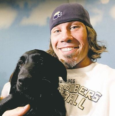 TREVOR HAGAN/WINNIPEG FREE PRESS archivesChris Cvetkovic, the Bombers� long snapper, has started Cvet�s Pets to help no-kill animal-rescue outfits.
