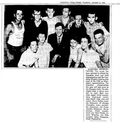 WINNIPEG FREE PRESS FILES</p><p>Coach Jim Daly, centre in tie, with Manitoba track athletes attending the Canadian track and field championships and the Canadian Olympic training plan meet. 1956</p>